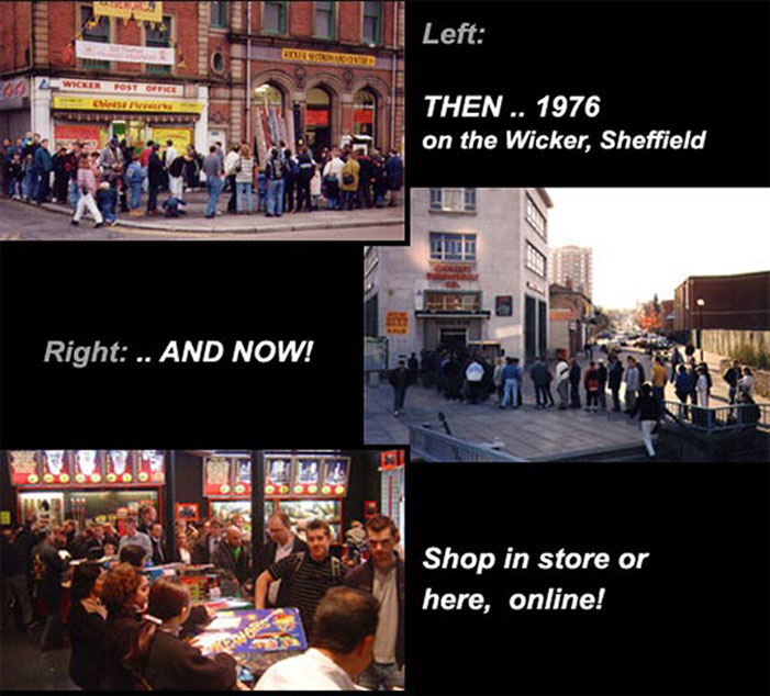 Top - THEN .. at our premises on the Wicker Sheffield - we were there for 20 years - below, NOW ... at our high-tech revamped shop on London Road Sheffield